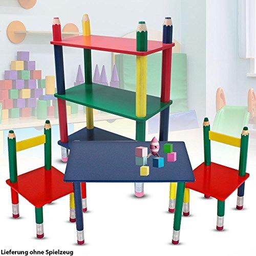 etc-shop Kinder Möbel Set Tisch Gruppe Stühle Massiv Holz bunt lackiert Spiel Zimmer Mobiliar Stand Regal Bleistift Kindermöbel