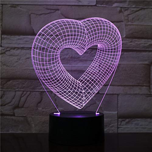 Lámpara de mesa 3D Love Heart Shaped Gift para niños Lámpara de mesa 3D Gift para niños LED Night Light Sleep Dormitorio Decoración Hombre Boy Lover Gift
