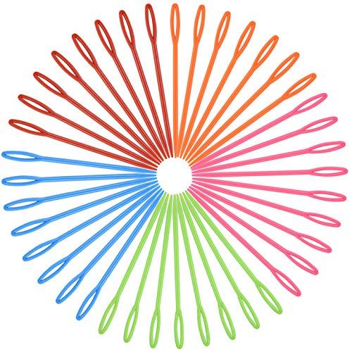 HQdeal Plastica Aghi per Cucire, 100 Pezzi 9cm Multicolor Aghi da Cucito in plastica per Bambini, Aghi da Lana, Cucire Aghi per Progetti di Artigianato e Mestieri di DIY