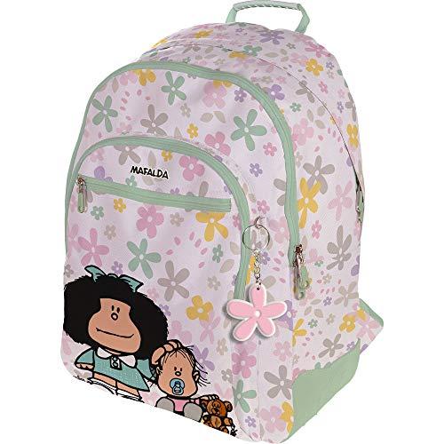 Mafalda 37500154 Colección Mafalda Mochila Escolar, 3 Compartimentos Principales, Bolsillo Exterior, Modelo Flores, 33 x 45 x 22.5 cm