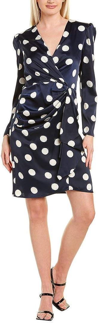 London Times Women's Dot Print Side Drape 3/4 Sleeve Sheath