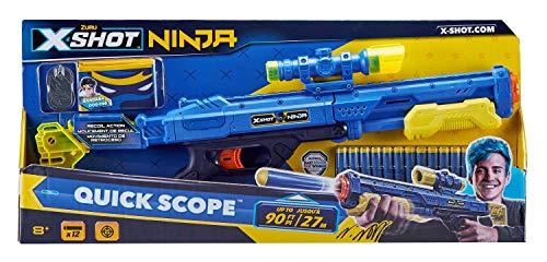 Zuru 36318 - X-Shot Ninja Quick Scope Blasterm, mit 12 Darts, Bandana und Erkennungsmarken