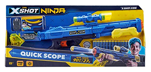 Zuru 36318 - X-Shot Ninja Quick Scope Blasterm, met 12 darts, bandana en identificatielabels