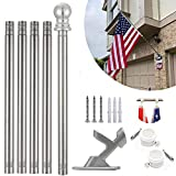 INFLATION 6 FT Flag Pole Kit with Bracket for Outdoor Garden Wall Mounted