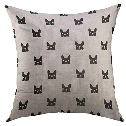 Mugod Decorative Throw Pillow Cover Black Puppy French Bulldog White Frenchie Face Home Decor Pillow case 18x18 Inch