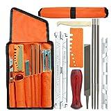 10 unids/set Kit de herramientas de afilado de cadenas de motosierra profesional, mango de madera dura, herramientas de afilador de limas de barra de guía de archivo redondo/plano, por defecto