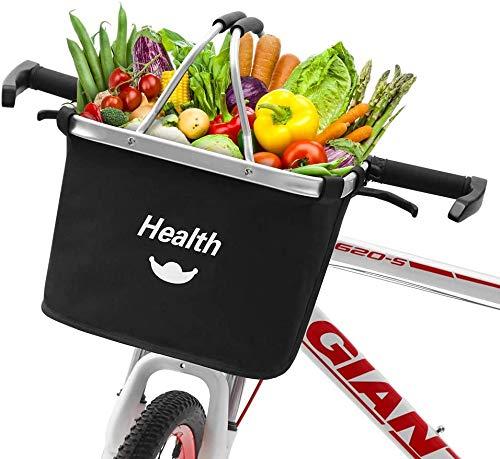 Cesta de Lona Bicicleta - Gran Capacidad Juego de adaptadores de Manillar y Canasta Cesta de Bicicleta Delantera Plegable Desmontable para Porta Mascotas, Bolsa de Compras, Camping al Aire Libr