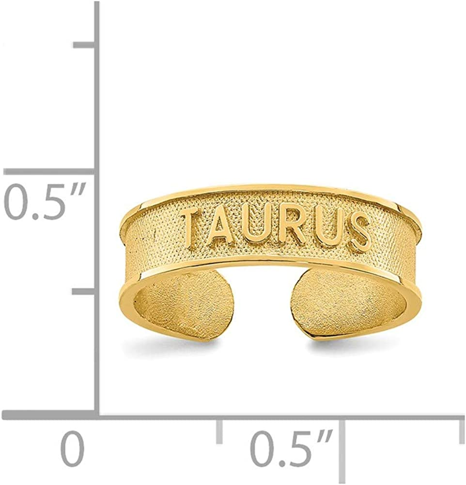 Solid 14k Yellow Gold Brushed and Zodiac Taurus Toe Ring Adjustable