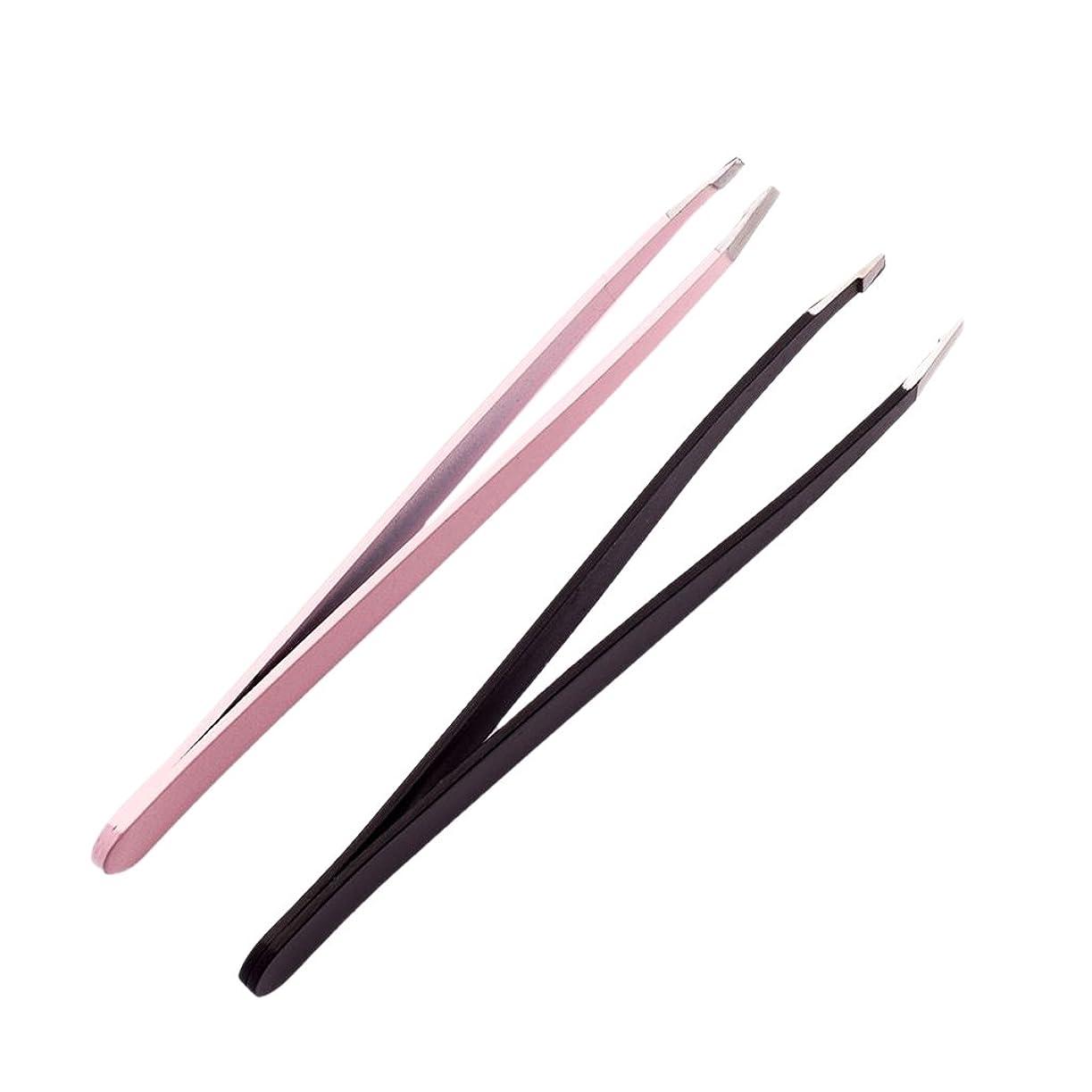 プロトタイプパッチセメント2個のプロフェッショナルな眉毛のピンセットは、ステンレス製の髪のリムーバーのツールセットを傾けた