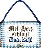 N / A Mei Herz schlagt Boarisch - Cartel de chapa (18 x 12 cm), diseño de Baviera
