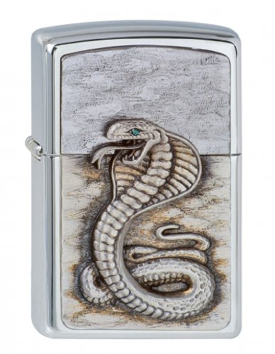 Zippo Zippo Feuerzeug 1300109 Green Eyed Cobra Emblem Benzinfeuerzeug, Messing Gr\xfcn