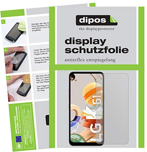 dipos I 6X Schutzfolie matt kompatibel mit LG K61 Folie Bildschirmschutzfolie (3X Vorderseite + 3X Rückseite)