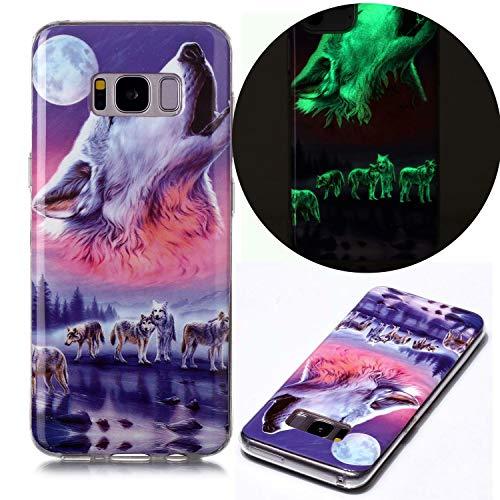 Miagon Leuchtend Luminous Hülle für Samsung Galaxy S8,Fluoreszierend Licht im Dunkeln Handyhülle Silikon Case Handytasche Stoßfest Schutzhülle,Sechs Wolf