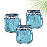 ISOTRONIC LED Solarlampe (3er Set) Solarleuchte/Solar Laterne, Hängeleuchte für Garten, Balkon und Außen – 10 LEDs pro Lampe – Einmachglas/Vorratsglas Deko Party, Fest, Hochzeit (blau)