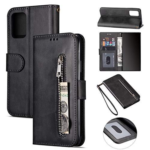 ZTOFERA Samsung A51 Hülle, Magnetisch Folio Flip Wallet Leder Standfunktion Reißverschluss schutzhülle mit Trageschlaufe, Brieftasche Hülle für Samsung Galaxy A51 - Schwarz