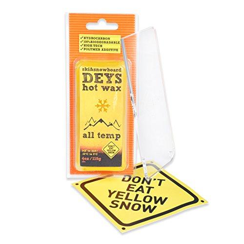 Don't Eat Yellow Snow Snowboard/Ski Wax from Deys (ALLTEMP) - Free Plexi Scraper. Gift Ready Combo