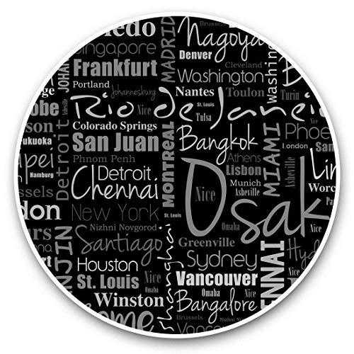 Impresionante pegatinas de vinilo (juego de 2) 7,5 cm (bw) – Ciudades Geography World City Art Divertidas calcomanías para portátiles, tabletas, equipaje, libros de chatarra, neveras, regalo genial #36572
