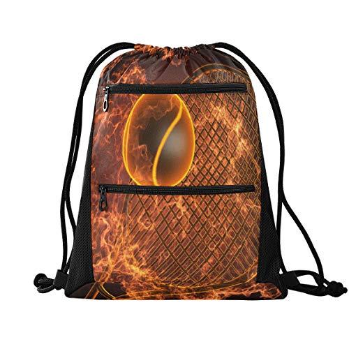 Rucksack mit Kordelzug, Sporttasche, Tennisschläger, Feuerfest, 3D-Beutel mit Kordelzug, Tasche mit Reißverschluss, Sport-Rucksack für Yoga, Strand