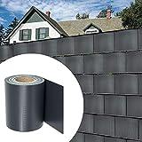 wolketon PVC Sichtschutzstreifen 450 g/㎡ 35M x 19 cm inkl. 30 Clips Sichtschutzfolie für den Gartenzaun oder Balkon