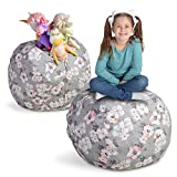"Creative QT Stuffed Animal Storage Bean Bag Chair - Large Stuff 'n Sit Organization for Kids Toy Storage - Available in a Variety of Sizes and Colors (33"", Grey Floral)"