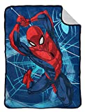 Marvel Spiderman Swing Flannel Sherpa Blanket - Measures 60 x 80 inches, Kids Bedding - Fade Resistant Super Soft - (Official Marvel Product)
