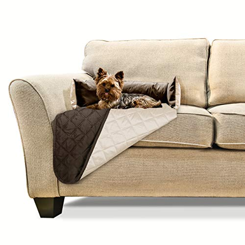 Furhaven Pet Furniture Cover - Sofa Buddy Two-Tone Reversible Water-Resistant Living Room Furniture Cover Protector Pet Bed for Dogs and Cats, Espresso/Clay, Small