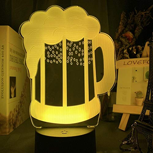 Beer Glass Night Light Led Touch Sensor Color Changing Nightlight for Bar Decor Sign Cool Gift for Friends Beer Mug 3D Lamp Usb