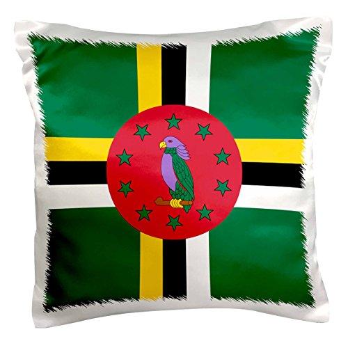 3dRose pc_158305_1 Flagge von Dominica Dominikanische Karibikinsel Nationalvogel Emblem Sisserou Papagei auf grünem Kissenbezug, 40,6 x 40,6 cm