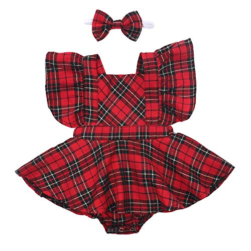 GOOCHEER Christmas Baby Girl Outfit Newborn Infant Baby Girl Christmas Red Plaid Ruffle Romper Dress + Headband Clothes (Red Plaid, 0-6 Months)