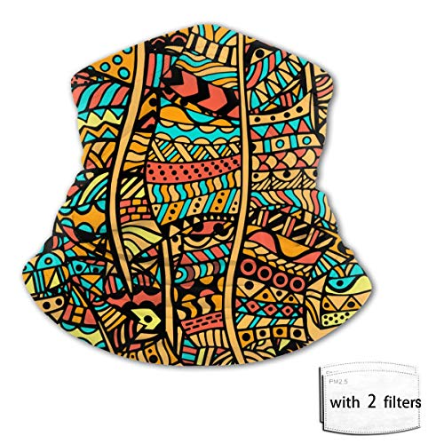 fgjfdjj Pañuelo para niños con diseño étnico, dibujado a mano, abstracto, africano, con 2 filtros, para niños, variedad, toalla para la cara, pasamontañas, bufanda Cap