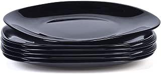 "DANMERS Dinnerware 6-Piece Kitchen Dinner Plates Set, Black, 7.5"" Appetizer Snacks Bread Dinner Plates Crack Resistant Gift Pack"