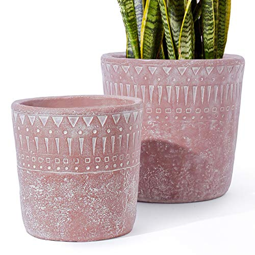 LE TAUCI 7+5.5 Inch Plant Pot with Drainage, Christmas Tree Planter, Concrete Planter, Cement Pots for Plants, Outdoor Flower Planters, Medium to Large Planters, Mid Century Decor, Set of 2, Red