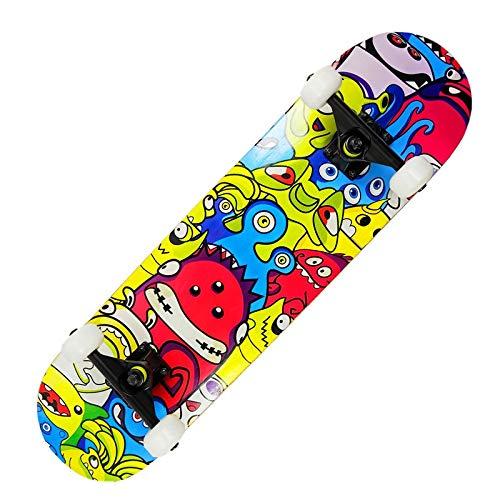 Tiakey Principiantes Doble monopatín Personalidad Moda Mapate Monopatín, Anime Boys Girls Trucos Skateboard Professional Adulto Cuatro Ruedas Scooter Día de los niños Día de los niños Regalo