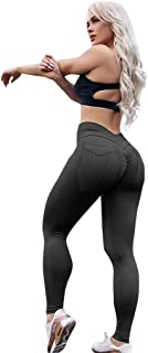 Womens Sexy Ruched Leggings with Pockets - High Waisted Tummy Control Workout Pants for Fitness Running
