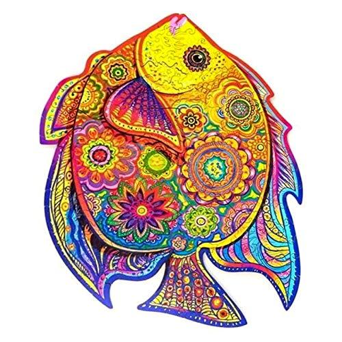 Clevoers Blocchi di Puzzle in Legno - Puzzle in Legno di Forma Irregolare - Misterioso Puzzle di Pesce per Adulti e Bambini - Gioco di Puzzle a Tema Naturale per la Famiglia