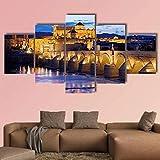 JJJKK Cuadro Moderno En Lienzo,5 Piezas XXL la Gran Mezquita en el crepúsculo de córdoba HD Abstracta Pared Imágenes Modulares Sala De Estar Dormitorios Decoración para El Hogar