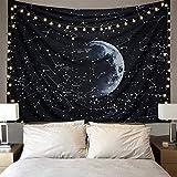LOMOHOO Tapiz De Pared Colgante De Espacio Galaxia Nebulosa Misterioso Estelar Constelación Patrón Negro Hippie Tapices para La Sala De Estar Dormitorio (Constelación, XL/175cmx230cm)