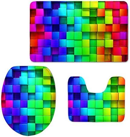 HUGS IDEA Rainbow Color Plaid Bathroom Rug Set Includes Contour Rug Lid Toilet Cover Bath Mat product image