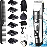 Hair Clippers, Professional Hair Trimmer Cordless Clippers Beard Shaver Electric Haircut Kit IPX7