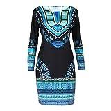 OverDose mujer De Manga Larga O-Collar Tradicional Africano Imprimir Dashiki Bodycon Sexy Vestido De La Manera (XL, Negro)