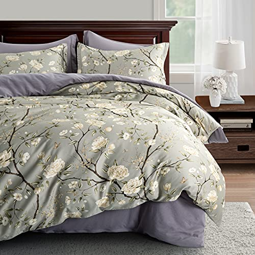 Cottage Bloom Garden Duvet Cover Set French Country Provincial Chic Floral Birds Bedding Peony Blossom Tree Branches (Grey Olive, Super King)