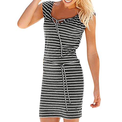 Elecenty Damen Hemdkleid T-Shirt Blusekleid T-Shirtkleid Sommerkleid Kleider Frauen Rundhals Kurzarm Mode Kleid Minikleid Kleidung (XL, Weiß)