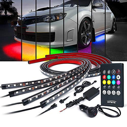 Xprite RGB LED Truck Bed Lights Kit w//Wireless Remote Control,8 PC Multi-Color Rock Rail Light Neon Lighting Pod for Trucks RV Boat Cargo Pickup Bed Underbody System