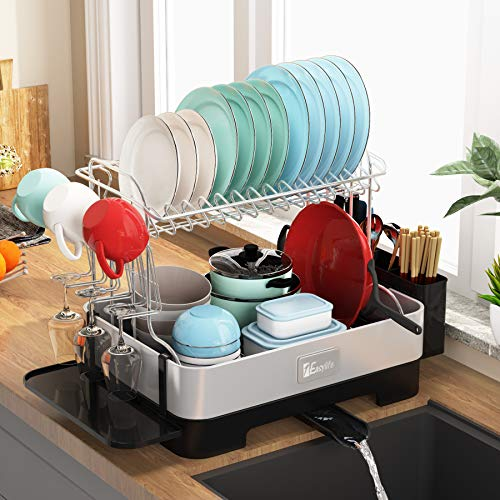 Dish Drying Rack, 1Easylife 2-Tier Large Drainboard Set with Fingerprint-Proof 304 Stainless Steel...