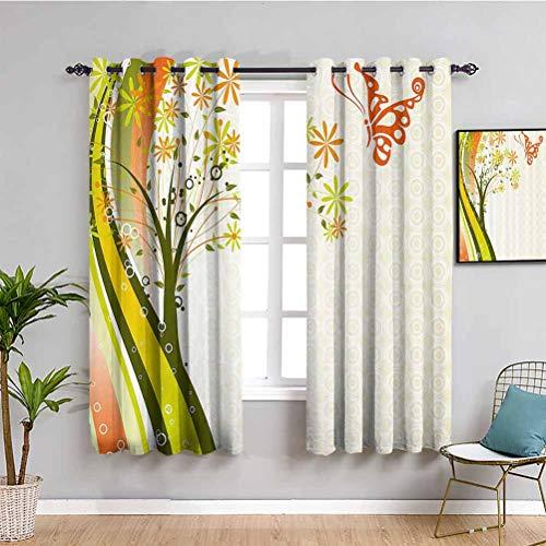 Naturaleza insonorizada privacidad ventana cortinas abstractas estilizadas rbol flores y mariposa con lneas de color ondulado, teln de fondo de puntos, uso repetible, multicolor W72 x L72 pulgadas