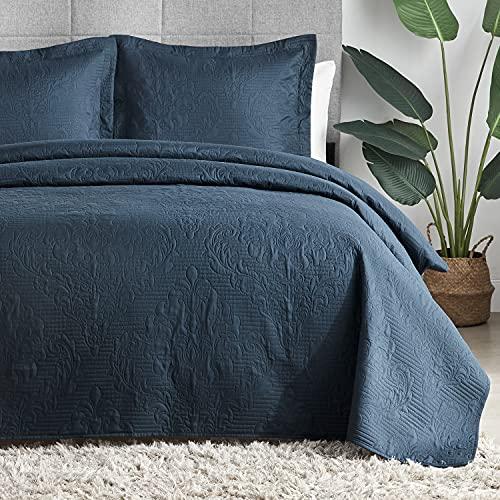 Hansleep Gesteppte Tagesdecke, Überwurf für Doppelbett, 220 x 240 cm, 3 Stück, marineblau, mit Ultraschall-Prägung, gebürstete Mikrofaser, mit 2 Kissenbezügen, 50 x 75 cm, für alle Jahreszeiten