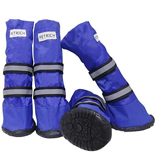BESUNTEK Warm Winter Big Pet Dog Boots Skidproof Soft Snowman...