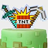 Pixel Video Game Acrylic Cake Topper Happy Birthday Sword Arrow Block Games Theme Decor Picks for Baby Shower Birthday Party Decorations Supplies