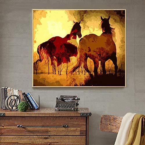 BUHUAZXM dier paard zonsondergang landschap abstract canvas schilderij muurkunst schilderij schilderij voor woonkamer moderne decoratie 50X75CM Geen frame.