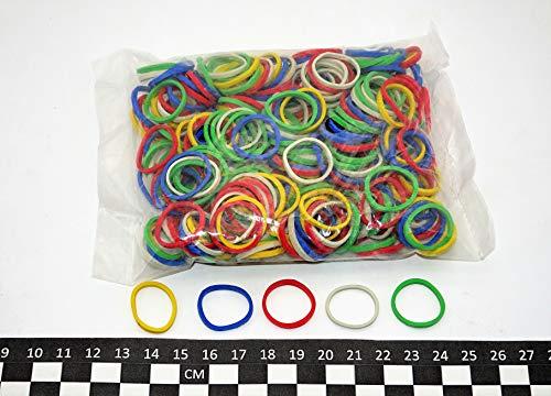 Progom - Gummibänder - 25(innendurchmesser 16) mm x 1.7mm - Bunt gemischt (rot,grün,blau,weiß,gelb) - beutel 50g